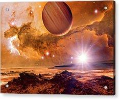 Alien Planet And Eagle Nebula Acrylic Print