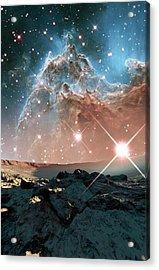 Alien Planet And Monkey Head Nebula Acrylic Print