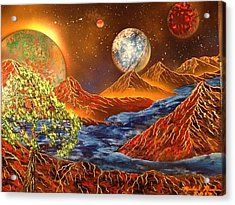 Acrylic Print featuring the painting Alien Worlds by Michael Rucker