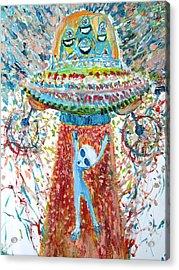 Aliens Abducting An Alien-cosmic Darwinism Acrylic Print by Fabrizio Cassetta
