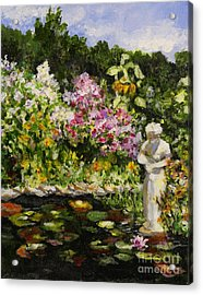 Acrylic Print featuring the painting Alisons Water Garden by Alison Caltrider