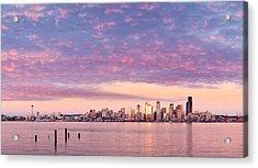 Alki Beach Pink Sunset Acrylic Print by Thorsten Scheuermann