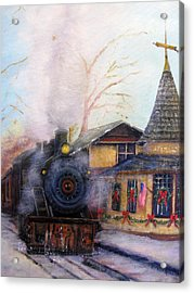 All Aboard At The New Hope Train Station Acrylic Print