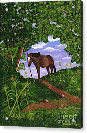 Acrylic Print featuring the painting All Alone by Laura Forde