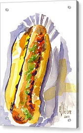 All Beef Ballpark Hot Dog With The Works To Go In Broad Daylight Acrylic Print