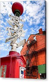 All Signs Point To Little Italy - Boston Acrylic Print by Mark E Tisdale