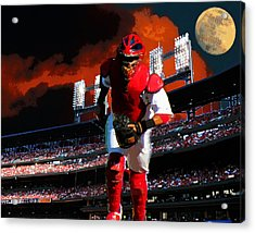 Acrylic Print featuring the photograph All Star Yadier Molina by John Freidenberg
