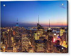 All That Glitters Is Gold - New York City Skyline Acrylic Print by Mark E Tisdale