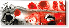 All Things Considered - Red Black And White Art Acrylic Print by Sharon Cummings