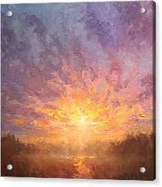 Impressionistic Sunrise Landscape Painting Acrylic Print by Karen Whitworth