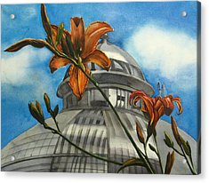 Acrylic Print featuring the painting Allan Garden With Daylilies by Alfred Ng