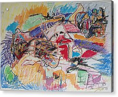 Acrylic Print featuring the drawing Allenby Abstract by Esther Newman-Cohen