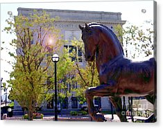 Allentown Pa Old Lehigh County Courthouse And Davinci Horse  Acrylic Print by Jacqueline M Lewis