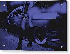 Alley Cat Car Trouble Blue Acrylic Print by Lesa Fine