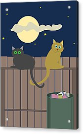 Alley Cats On A Fence Acrylic Print