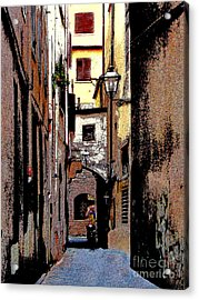 Acrylic Print featuring the digital art Alley In Florence 2 Digitized by Jennie Breeze