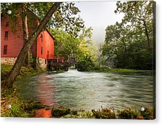 Alley Spring Grist Mill Waterfall And Lake Acrylic Print by Gregory Ballos