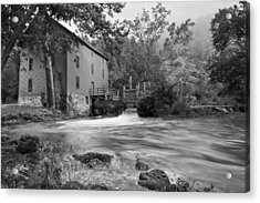 Alley Spring Mill - Black And White Acrylic Print by Gregory Ballos