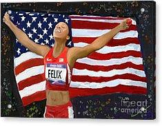 Allison Felix Olympian Gold Metalist Acrylic Print