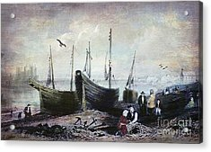 Allonby - Fishing Village 1840s Acrylic Print by Lianne Schneider