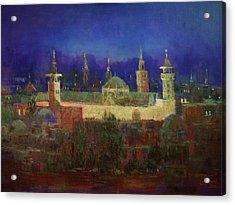 Almasjed Alamawe At Night - Damascus - Syria Acrylic Print