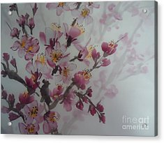 Acrylic Print featuring the painting Almond Flower by Dongling Sun