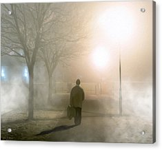 Alone In The Fog In Galway Acrylic Print by Mark E Tisdale