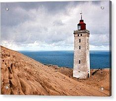 Lighthouse On The Sand Hils Acrylic Print by Mike Santis