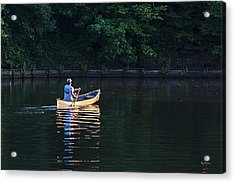 Alone On The Lake Acrylic Print by Barry Jones