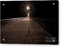 Alone On The Pier Acrylic Print by Ron Hoggard
