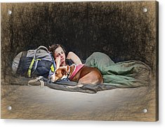 Alone With Her Dog Acrylic Print by John Haldane