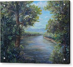 Acrylic Print featuring the painting Along The Canal New Hope by  Luczay