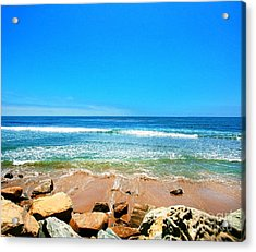 Along The Rincon California Surf Spot From The Book My Ocean Acrylic Print by Artist and Photographer Laura Wrede