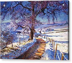Along The Snow Lined Road Acrylic Print by David Lloyd Glover
