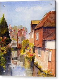 Acrylic Print featuring the painting Along The Stour Canterbury by Beatrice Cloake