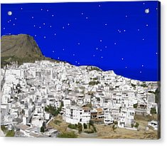 Alora Malaga Spain At Twilight Acrylic Print