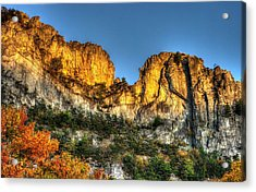 Alpenglow At Days End Seneca Rocks - Seneca Rocks National Recreation Area Wv Autumn Early Evening Acrylic Print