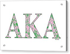 Alpha Kappa Alpha - White Acrylic Print by Stephen Younts