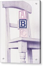 Alphabet Blocks Chair Acrylic Print by Edward Fielding