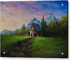 Alpine Barn Acrylic Print by C Steele