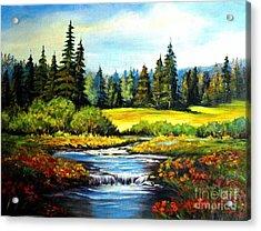 Alpine Meadow Acrylic Print by Hazel Holland