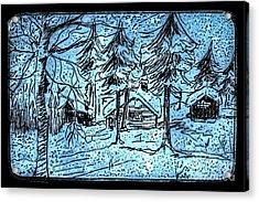 Alpine Snow Storm Black Frame Acrylic Print