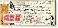 Altered Check 1923 Acrylic Print by Carol Leigh