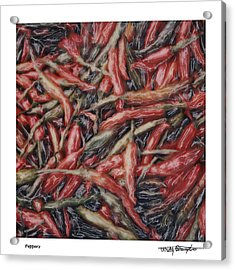 Altered Polaroid - Chile Peppers Acrylic Print by Wally Hampton