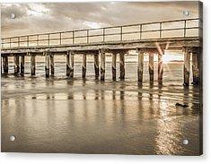 Altona Pier In Sepia Acrylic Print by Shari Mattox