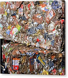 Aluminium Cans For Recycling Acrylic Print by Alex Bartel/science Photo Library
