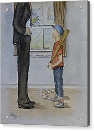 Acrylic Print featuring the painting Am I In Trouble Dad... Broken Window by Kelly Mills