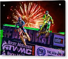 Ama 450sx Supercross Trey Canard Leads Chad Reed Acrylic Print