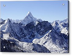 Ama Dablam Mountain Seen From The Summit Of Kala Pathar In The Everest Region Of Nepal Acrylic Print by Robert Preston