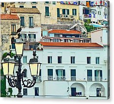 Acrylic Print featuring the photograph Amalfi Birds And Lamps by Cheryl Del Toro